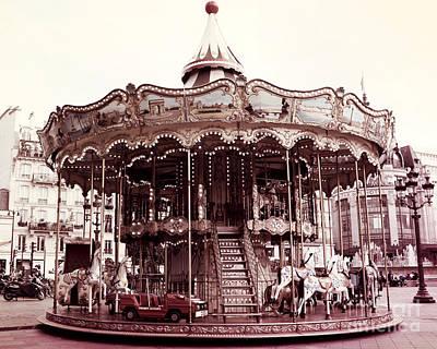 Paris Carousel Merry Go Round At Hotel De Ville - Paris Carousel Horses At Hotel De Ville Print by Kathy Fornal