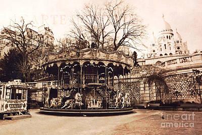 Surreal Paris Decor Photograph - Paris Carousel Merry Go Round Montmartre District - Sepia Carousel At Sacre Coeur  by Kathy Fornal