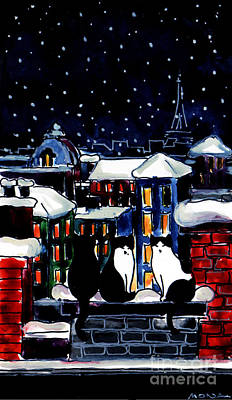 Winter Night Painting - Paris Cats by Mona Edulesco