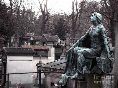 Paris Cemetery Art Sculptures - Female Grave Mourning Figure Monument - Montmartre Cemetery Print by Kathy Fornal