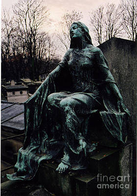 Paris Cemetery Female Mourners - Montmartre Cemetery Surreal Gothic Female Mourner  Print by Kathy Fornal