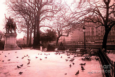 Paris Surreal Parks Photograph - Paris Charlemagne Notre Dame Cathedral Courtyard - Paris Dreamy Pink Notre Dame Statue With Pigeons  by Kathy Fornal