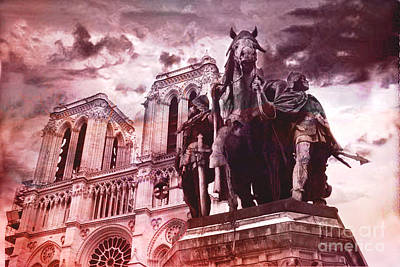 Paris Charlemagne Notre Dame Cathedral Sculpture Monument Landmark - Paris Charlemagne Monument  Print by Kathy Fornal