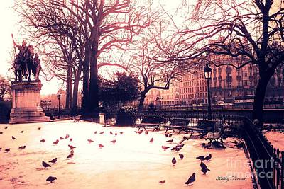 Paris Charlemagne Statue - Surreal Sunset Notre Dame Courtyard Charlemagne With Pigeons Print by Kathy Fornal