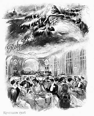 Belle Epoque Drawing - Paris Christmas, 1908 by Granger