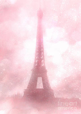 Paris Shabby Chic Pink Dreamy Romantic Eiffel Tower Fantasy Pink Clouds Fine Art Print by Kathy Fornal