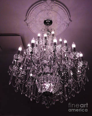 Paris Crystal Chandelier Art Deco - Romantic Purple Sparkling Chandelier - Crystal Chandelier Photos Print by Kathy Fornal