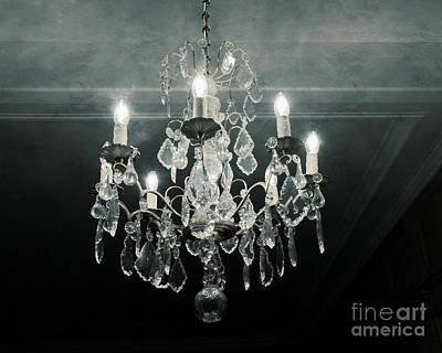 Paris Crystal Chandelier Haunting Dreamy Blue Gray - Dreamy Sparkling Crystal Chandelier Fine Art Print by Kathy Fornal