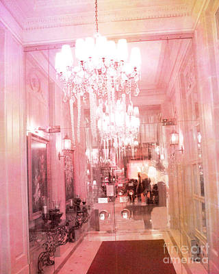 Paris Crystal Chandelier Posh Pink Sparkling Hotel Interior And Sparkling Chandelier Hotel Lights Print by Kathy Fornal