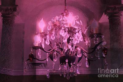 Crystals Photograph - Paris Dark Pink Sparkling Crystal Chandelier Haunting Dark Pink Purple Plum Chandelier Art Deco  by Kathy Fornal