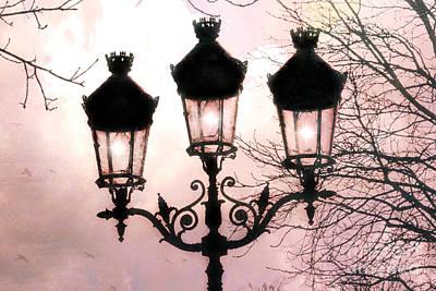 Paris Dreamy Baby Pink Street Lamps - Paris Pastel Shabby Chic Pink Street Lanterns Fine Art Photos Print by Kathy Fornal