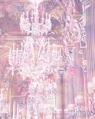 Paris Dreamy Ethereal Chandelier Opera House - Paris Lavender Pink Dreamy Chandelier Opera House Print by Kathy Fornal