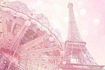 Paris Dreamy Pink Carousel And Eiffel Tower - Eiffel Tower Carousel - Paris Baby Girl Nursery Room Print by Kathy Fornal