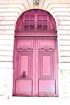 Paris Dreamy Pink Door Photography - Paris Romantic Pink Door Architecture - Paris Shabby Chic Door Print by Kathy Fornal