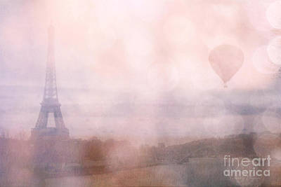 Paris Dreamy Pink Romantic Eiffel Tower - Paris Pink Eiffel Tower And Hot Air Balloons Print by Kathy Fornal