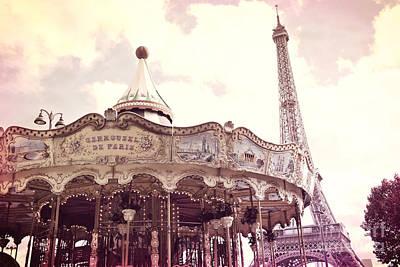 Paris Dreamy Pink Yellow Carousel Eiffel Tower Champs Des Mars - Paris Carrousel De Paris  Print by Kathy Fornal