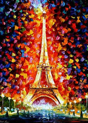 Paris Eifel Tower Lighted - Palette Knife Oil Painting On Canvas By Leonid Afremov Original by Leonid Afremov