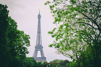 Paris Eiffel Surrounded By Trees Print by Georgia Fowler