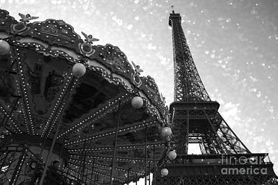 Fantasy Paris Photograph - Paris Eiffel Tower Carousel Black White Surreal Photo - Eiffel Tower Black White Stars And Hearts by Kathy Fornal