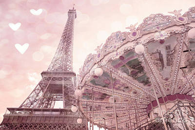 Paris Eiffel Tower Carousel Merry Go Round With Hearts - Eiffel Tower Carousel Baby Girl Nursery Art Print by Kathy Fornal