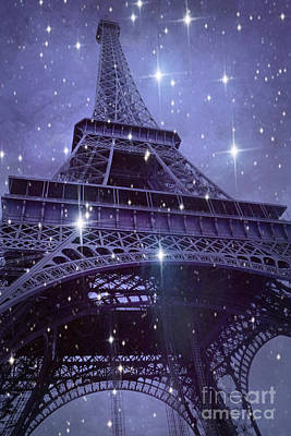 Paris Eiffel Tower Starry Night Photos - Eiffel Tower With Stars Celestial Fantasy Sparkling Lights  Print by Kathy Fornal
