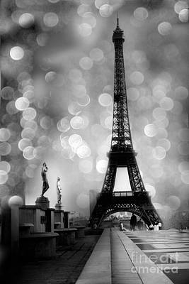 Paris Eiffel Tower Surreal Black And White Photography - Eiffel Tower Bokeh Surreal Fantasy Night  Print by Kathy Fornal