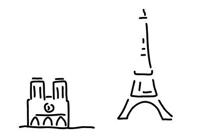 Eiffel Tower Drawing - Paris Eiffelturm Notre Dame by Lineamentum
