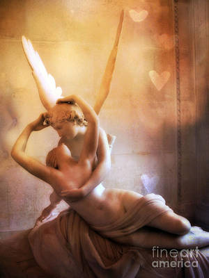 Paris Eros And Psyche Louvre Museum- Musee Du Louvre Angel Sculpture - Paris Angel Art Sculptures Print by Kathy Fornal
