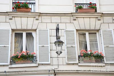 Paris Flower Window Boxes - Paris Windows Architecture - French Floral Window Boxes  Print by Kathy Fornal