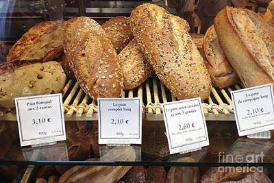Paris Food Photography - Paris Au Pain Bakery Patisserie - French Bread Print by Kathy Fornal