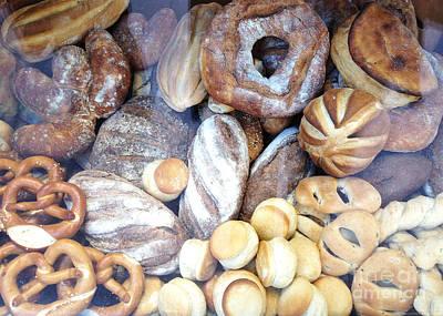 Paris Food Photography - Paris Au Pain - French Breads And Pretzels Print by Kathy Fornal