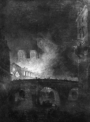 Notre Dame Cathedral Painting - Paris, France Fire, 1773 by Granger