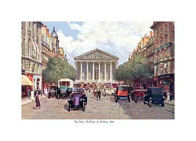 France La Madeleine Digital Art - Paris France - The Rue Royal And The Madeleine - 1910 by John Madison