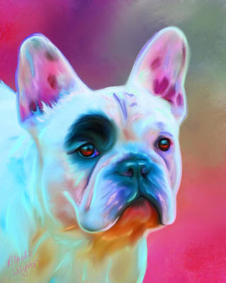 Bulldog Art Digital Art - Vibrant French Bull Dog Portrait by Michelle Wrighton