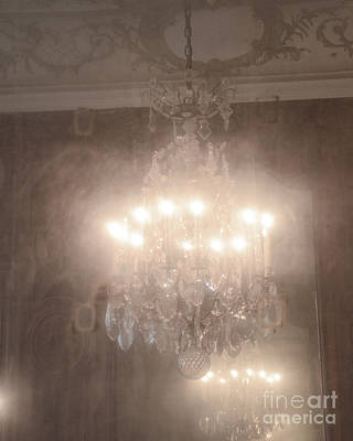 Paris Romantic Chandelier Rodin Museum - Hotel Biron Haunting Vintage Chandelier Mirror Reflection  Print by Kathy Fornal