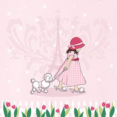 Paris Girl And Poodle Eiffle Tower Print by Amanda Francey