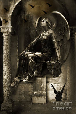 Gargoyle Photograph - Surreal Paris Gothic Angel Gargoyle Ravens Fantasy Art by Kathy Fornal