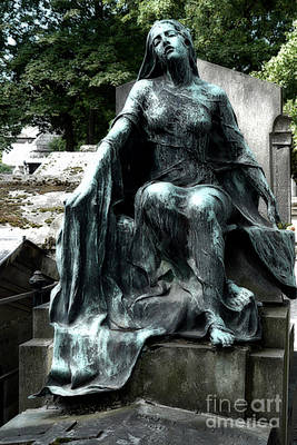 Emotive Photograph - Paris Gothic Female Mourner - Montmartre Cemetery Female Sculpture - Mother Looking Over Son by Kathy Fornal