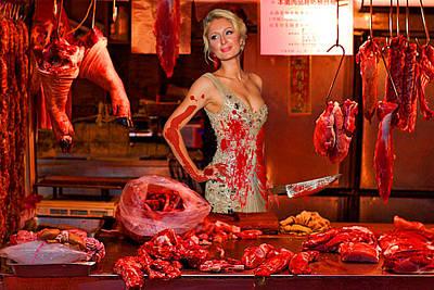 Paris Hilton The Butcher Print by Tony Rubino