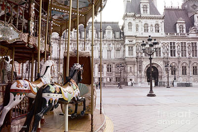 Paris Hotel Deville - Paris Carousel Horses At Hotel Deville - Paris Pink Architecture Art Nouveau Print by Kathy Fornal