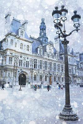 Paris Hotel Deville Winter Blue Snow Scene - Paris Winter Snow Landscape Print by Kathy Fornal