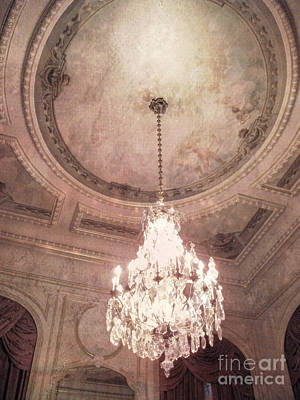 Paris Hotel Regina Dreamy Crystal Chandelier Hotel Entrance Lobby Chandelier Art Deco Ceiling Fresco Print by Kathy Fornal