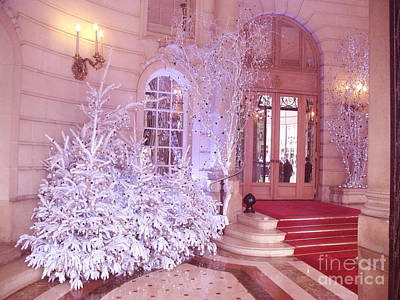 Paris Hotel Ritz Pink Sparkling Holiday Interior Architecture - Paris Hotel Ritz Christmas Photos Print by Kathy Fornal