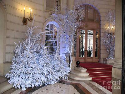 Paris Hotel Ritz Sparkling Holiday Interior Architecture - Paris Hotel Ritz Christmas Photos Print by Kathy Fornal
