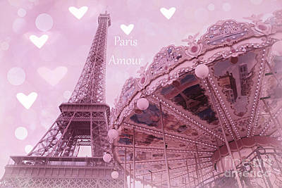 Paris In Love - Paris Amour With Hearts - Eiffel Tower Lavender Hearts Carousel Print - Paris Amour Print by Kathy Fornal