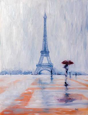 Umbrella Painting - Paris In Rain by Kovacs Anna Brigitta