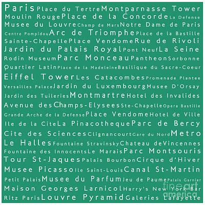 Louvre Digital Art - Paris In Words Algae by Sabine Jacobs