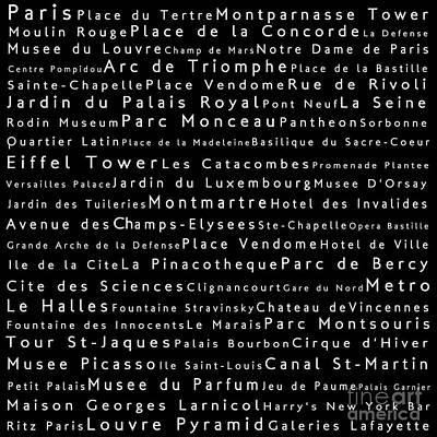 Louvre Digital Art - Paris In Words Black by Sabine Jacobs