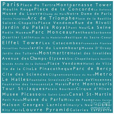 Louvre Digital Art - Paris In Words Teal by Sabine Jacobs
