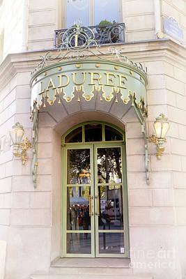 Dreamy Food Photograph - Paris Laduree Dreamy Pink Door Architecture - Paris Laduree Pink Pastel Architecture Door Art Deco by Kathy Fornal